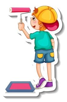 Modello di adesivo con un personaggio dei cartoni animati del ragazzo isolato