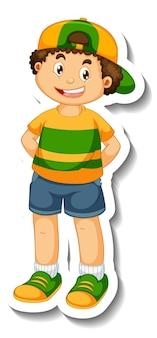 Modello di adesivo con dietro di un personaggio dei cartoni animati del ragazzo isolato
