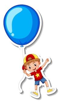 Modello di adesivo con un ragazzo che vola con un grande pallone isolato