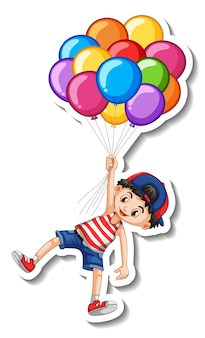 Sticker template with a boy flying with many balloons isolated Free Vector