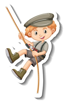 A sticker template with a boy hanging on rope
