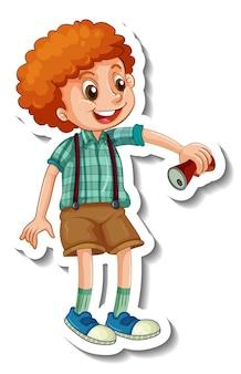 Modello di adesivo con un ragazzo che tiene la lattina isolata