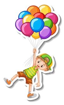 Modello di adesivo con un ragazzo che tiene molti palloncini isolati