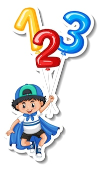 Sticker template with a boy holding many balloons isolated