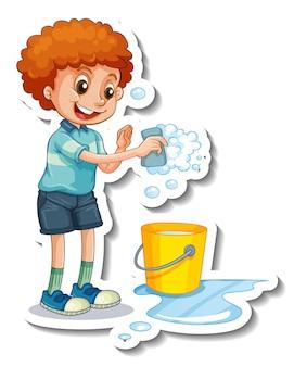 Modello di adesivo con un ragazzo che tiene una spugna per la pulizia isolato