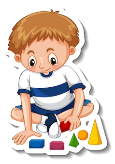 Sticker template with a boy playing with his toys isolated