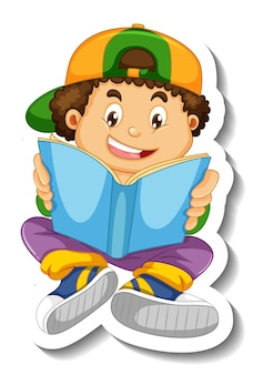 Sticker template with a boy reading book cartoon character isolated
