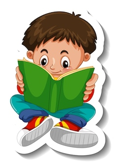Sticker template with a boy reading a book cartoon character isolated