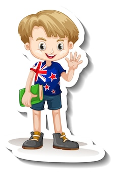 A sticker template with a boy wearing american flag t-shirt cartoon character