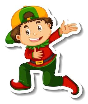 Modello dell'autoadesivo con un ragazzo che indossa il personaggio dei cartoni animati del costume del pagliaccio isolato