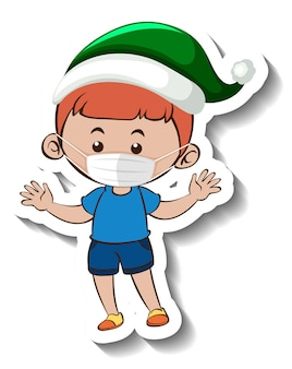 A sticker template with a boy wearing mask in christmas theme