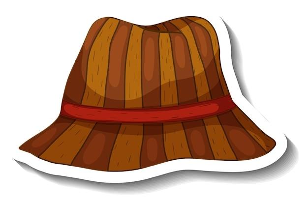 Un modello di adesivo con un cappello a secchiello marrone isolato Vettore gratuito