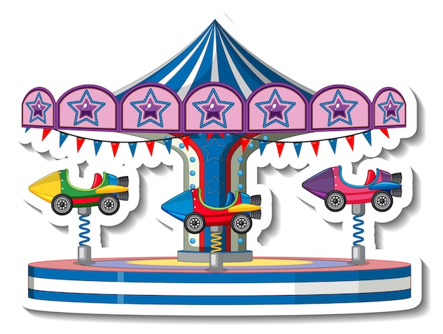 Sticker template with carousel rides at fun fair isolated