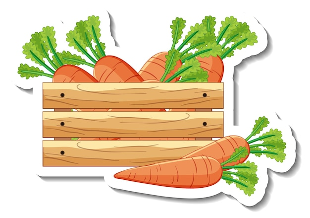 Sticker template with carrots in wooden box