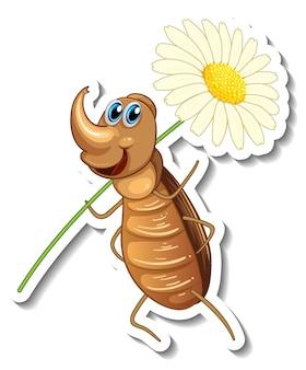 Modello di adesivo con personaggio dei cartoni animati di uno scarabeo che tiene un fiore isolato
