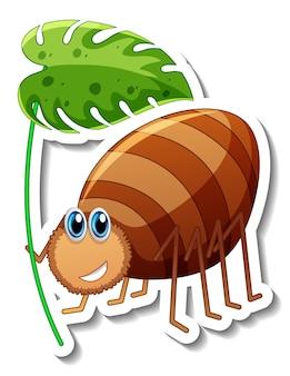 Modello di adesivo con personaggio dei cartoni animati di uno scarabeo che tiene una foglia isolata