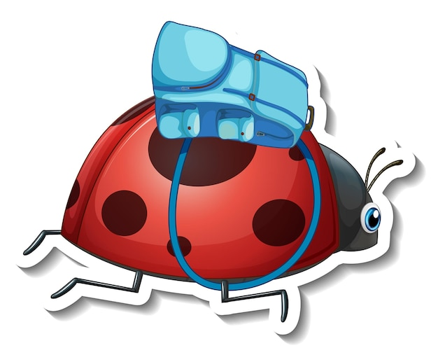 Sticker template with cartoon character of a beetle isolated