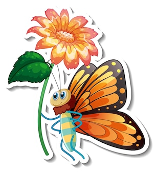 Sticker template with cartoon character of a butterfly holding a flower isolated