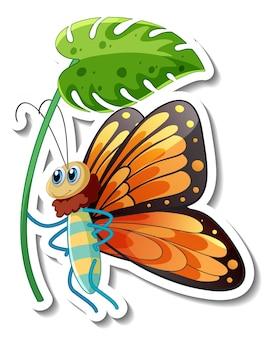 Modello di adesivo con personaggio dei cartoni animati di una farfalla che tiene un fiore isolato