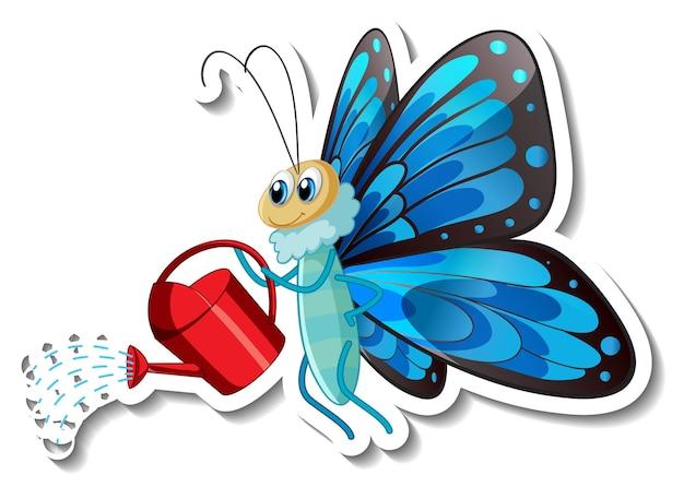 Modello di adesivo con personaggio dei cartoni animati di una farfalla che tiene un annaffiatoio isolato
