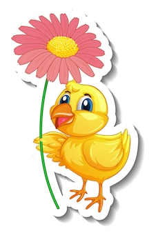 Sticker template with cartoon character of a chick holding a flower isolated