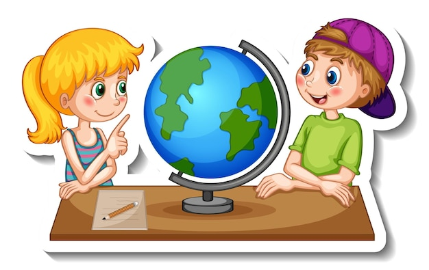 Sticker template with cartoon character of kids looking at globe isolated