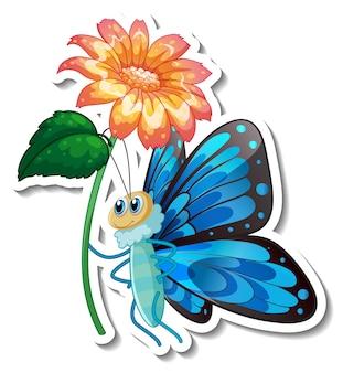 고립 된 꽃을 들고 나비의 만화 캐릭터와 스티커 템플릿