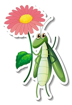 分離された花を保持しているグラスホッパーの漫画のキャラクターとステッカーテンプレート