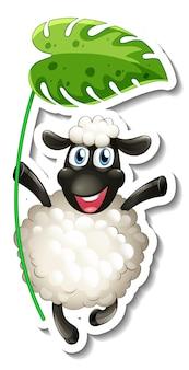孤立した葉を保持している羊の漫画のキャラクターとステッカーテンプレート
