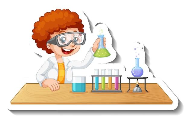 Шаблон стикера с мультипликационным персонажем студента, проводящего химический эксперимент