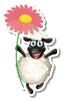 Sticker template with cartoon character of a sheep holding a flower isolated