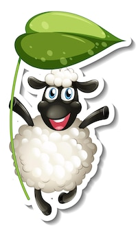 Sticker template with cartoon character of a sheep holding a leaf isolated