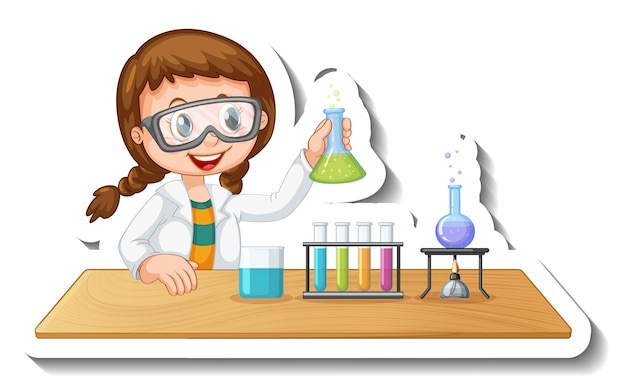 Sticker template with cartoon character of a student doing chemical experiment