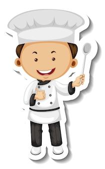 Modello di adesivo con un personaggio dei cartoni animati del ragazzo chef isolato