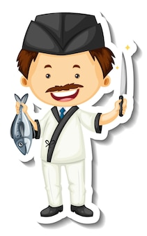 Sticker template with a chef man holds fish and knife isolated