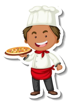 Sticker template with a chef man holds pizza tray isolated