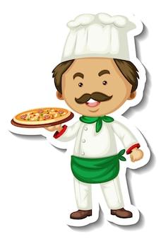 Il modello dell'autoadesivo con un uomo dello chef tiene il vassoio della pizza isolato