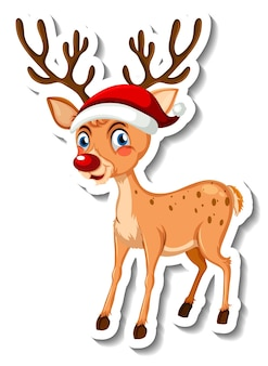 Sticker template with christmas reindeer cartoon character isolated