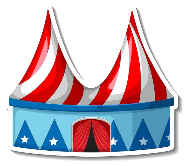 Sticker template with circus tent in cartoon style