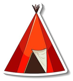 고립 된 서커스 텐트와 스티커 템플릿