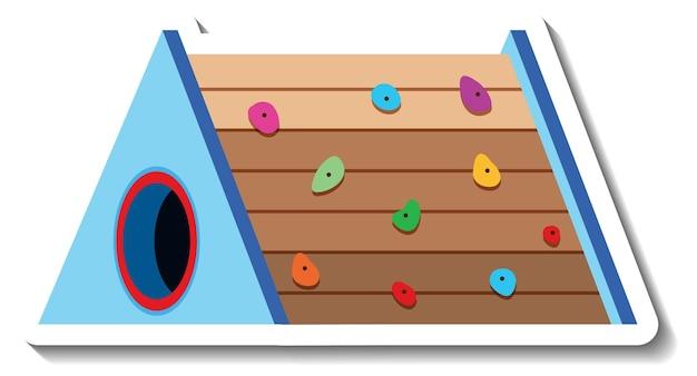 Un modello di adesivo con attrezzature da gioco per bambini sulla parete da arrampicata