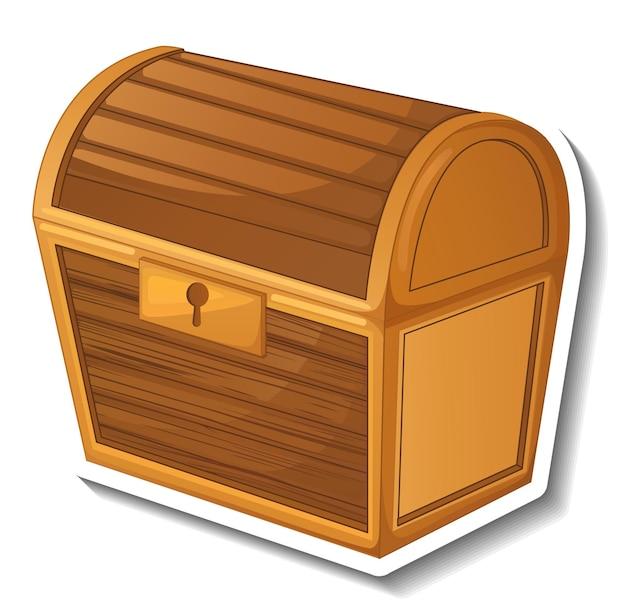 Modello di adesivo con scrigno del tesoro chiuso isolato