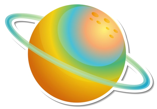 Sticker template with clourful planet isolated