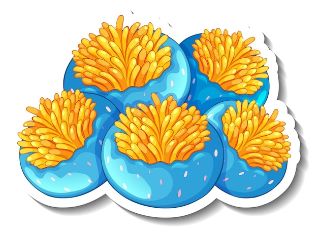 A sticker template with coral sea element isolated