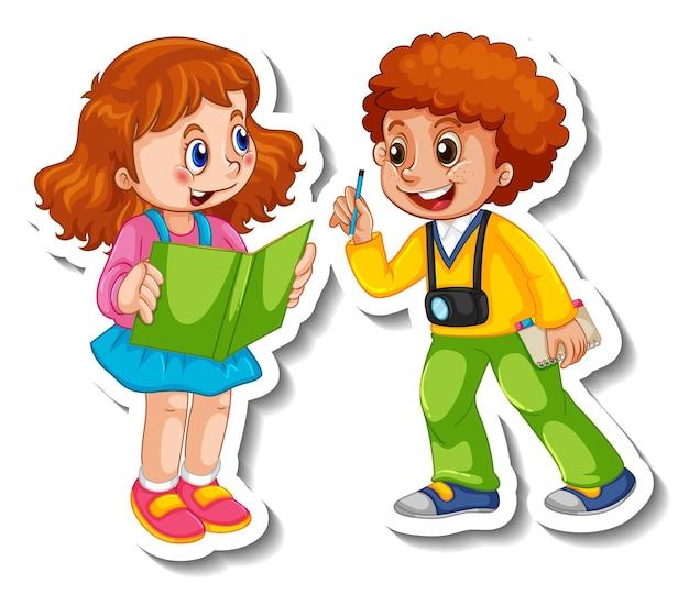 Modello dell'autoadesivo con un personaggio dei cartoni animati dei bambini delle coppie isolato