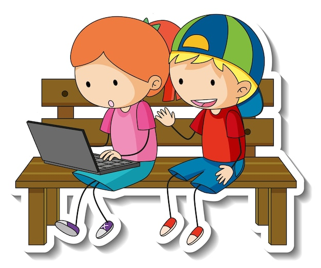 Sticker template with couple of kids cartoon character isolated