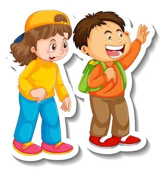 Modello di adesivo con un paio di bambini studenti personaggio dei cartoni animati isolato