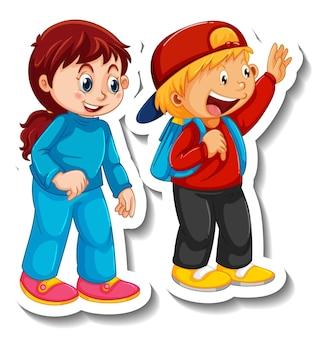 Modello di adesivo con coppia di bambini studenti personaggio dei cartoni animati isolato