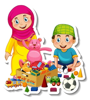 Sticker template with couple of muslim kids cartoon character isolated