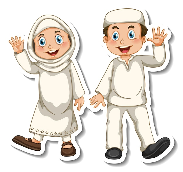 Un modello di adesivo con un paio di personaggi dei cartoni animati di bambini musulmani